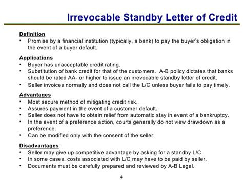 Standby Letter Of Credit At Sight tools to manage credit risk