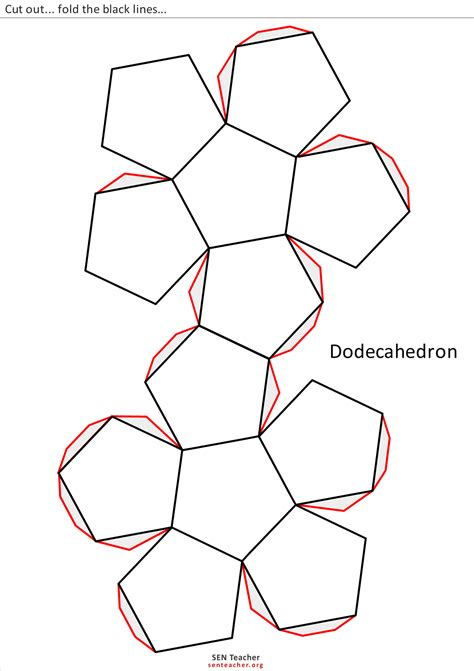 dodecahedron template the gallery for gt icosahedron net with tabs
