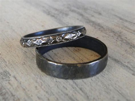 sterling silver rings    wedding rings black