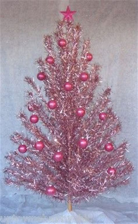 vtg retro pink evergleam aluminum xmas tree w stand 6 ft