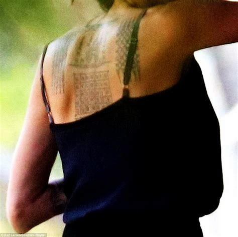 angelina jolie tattoo daily mail angelina jolie debuts new tattoos and directs khmer rouge