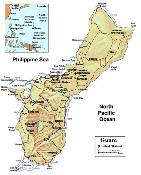 printable road map of guam detailed political and relief map of guam with roads