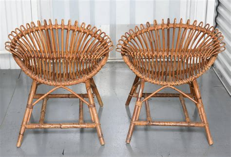 Vintage Bamboo Furniture by Two Pairs Of Vintage Bamboo And Rattan Chairs At