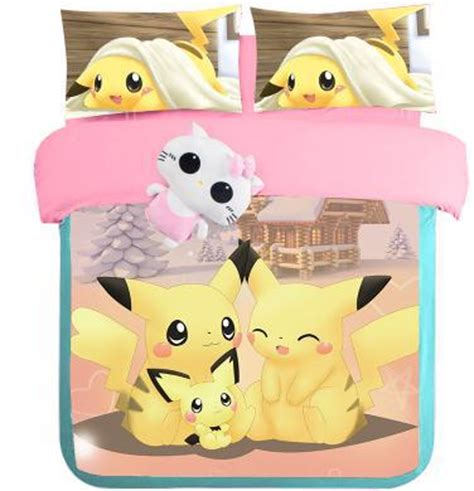 Set Pikachu Londonkids new pikachu bed mermaid print bedding king size duvet cover sets
