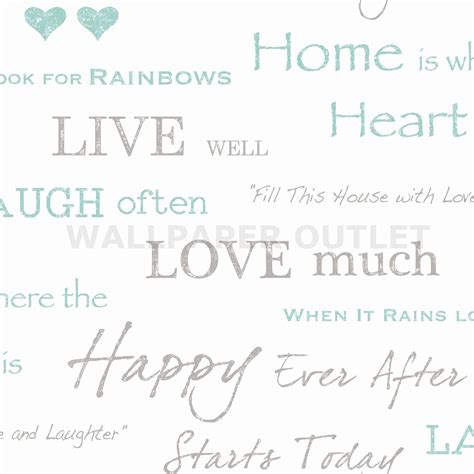 Fine decor wall words teal wallpaper fd40428 sample cut price
