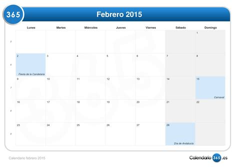 de febrero de 2015 calendario febrero 2015