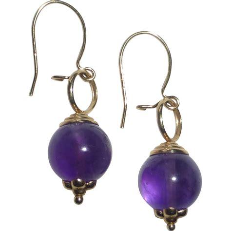 gold bead earrings 14k yellow gold amethyst bead earrings from bejewelled on