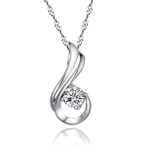 Silver Pendant With Chain genuine 100 925 sterling silver pendant necklace paved