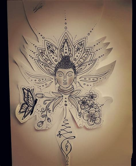 detailed tattoos designs buddha butterfly and floral design with a