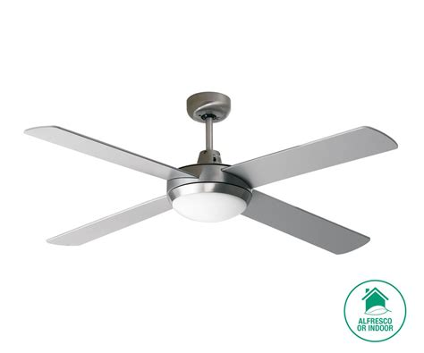 silver ceiling fan with light futura 132cm fan and light in brushed aluminium with