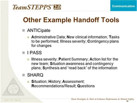 patient handover template teamstepps fundamentals course module 3 communication