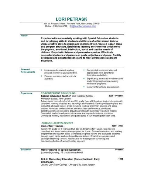 resume for teachers template gfyork com