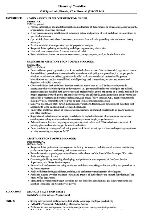 assistant front office manager resume sle front office manager resume sle talktomartyb