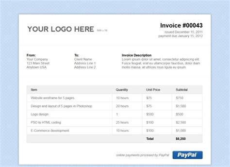simple html invoice template stationery templates