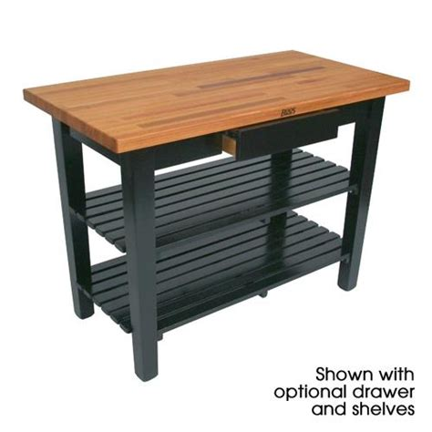John Boos Oc4825 D Bk 48 Quot Black Oak Table W Drawer Kitchen Work Table With Drawers