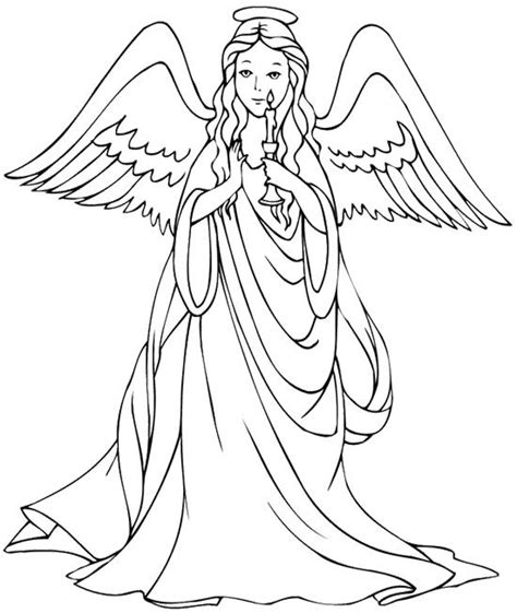 beautiful christmas angel coloring page coloring pages