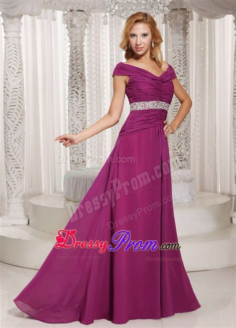 fuchsia color dress the shoulder fuchsia ruche and beading dresses for