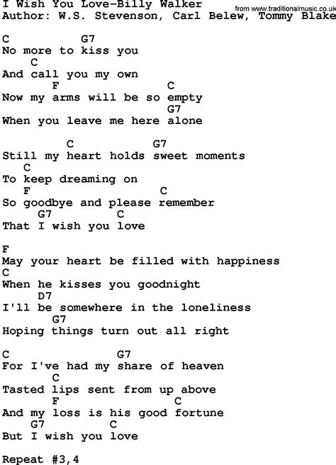 wish song country i wish you billy walker lyrics and chords