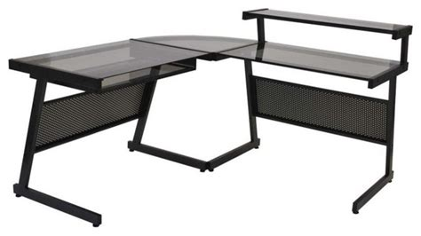 L Shaped Black Glass Desk Eurostyle Landon L Shaped Desk In Graphite Black Smoked Glass Top Contemporary Desks And