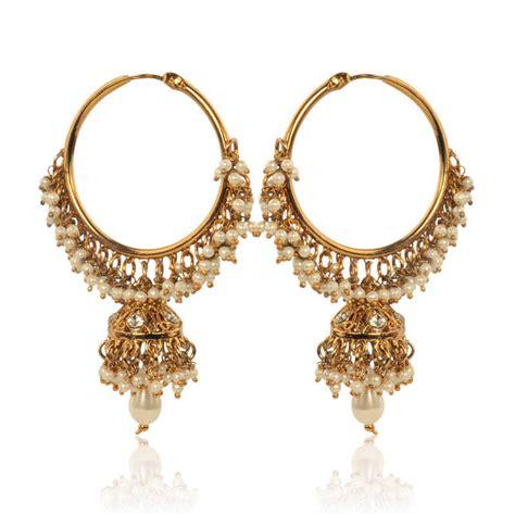 Handmade Designer Jewelry - buy white hoop earrings with pearls by adiva abswe0bi0028
