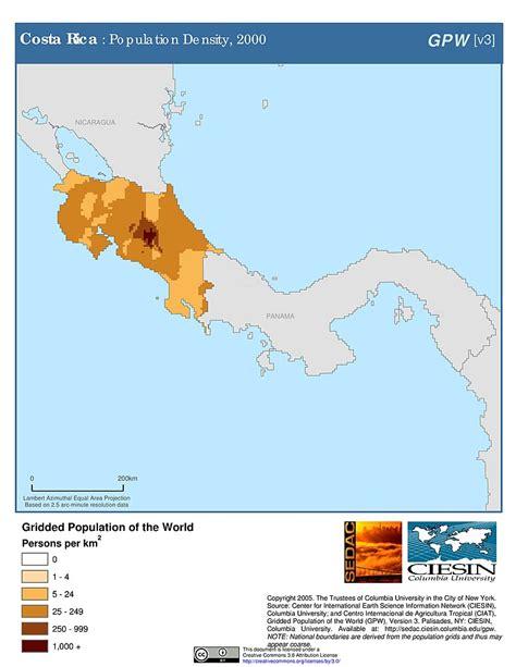 costa rica population density map maps 187 population density grid v3 sedac