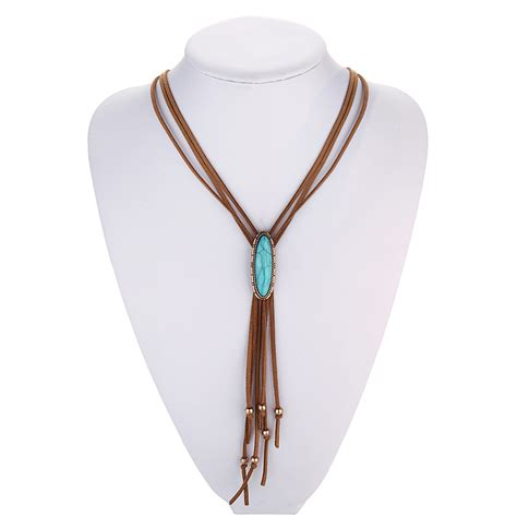 Tassel Outer 8 leather tassel necklace western bolo tie turquoise necklace boho hippie indian american