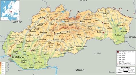 where is slovakia on the map physical map of slovakia