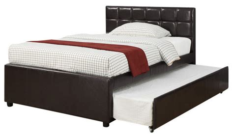 youth espresso functional faux leather upholstered bed