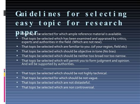 topic selection for research paper topic selection
