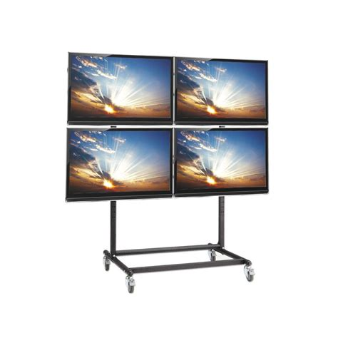 mobile lcd display mobile plasma led and lcd 2x2 trolley stand for
