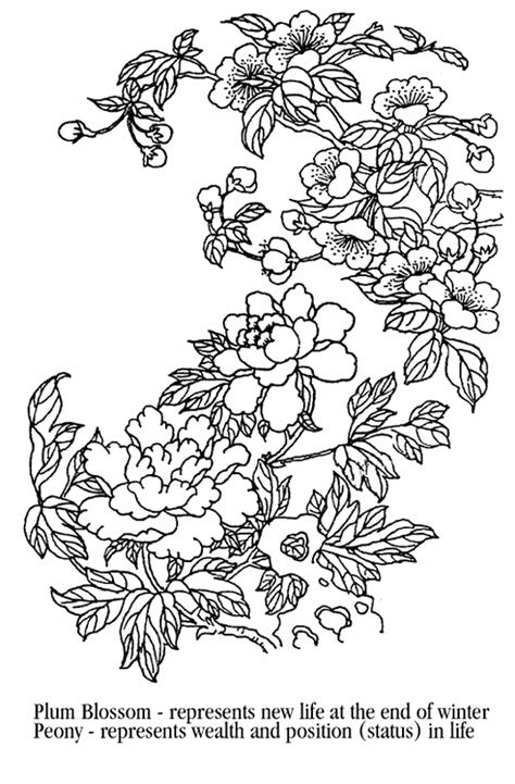 coloring pages japanese flowers asian coloring pages the southwest airlines chinese new