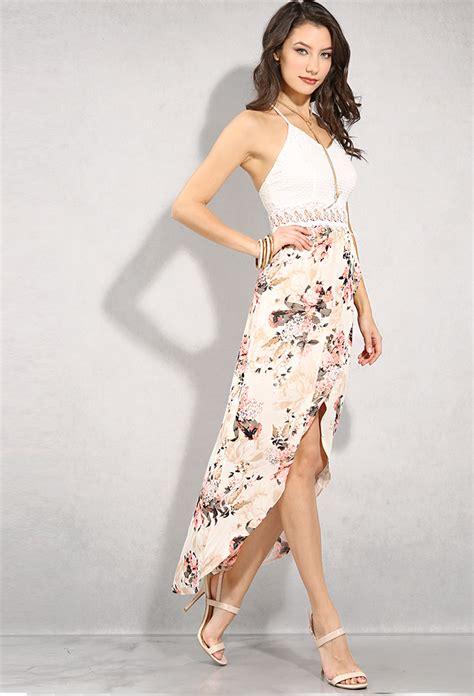 Id 1838 Flower Dress crochet floral print high low dress shop dresses at papaya clothing