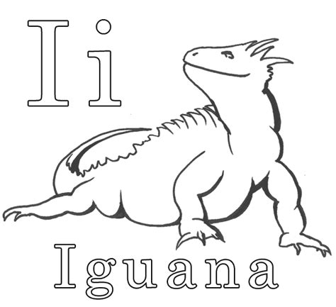 letter i is for iguana coloring page free printable iguanas para colorear e imprimir imagui