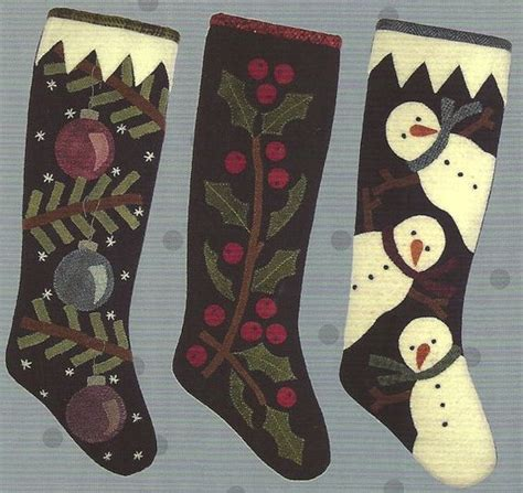free pattern for primitive christmas stocking primitive folk art wool applique pattern 3 christmas