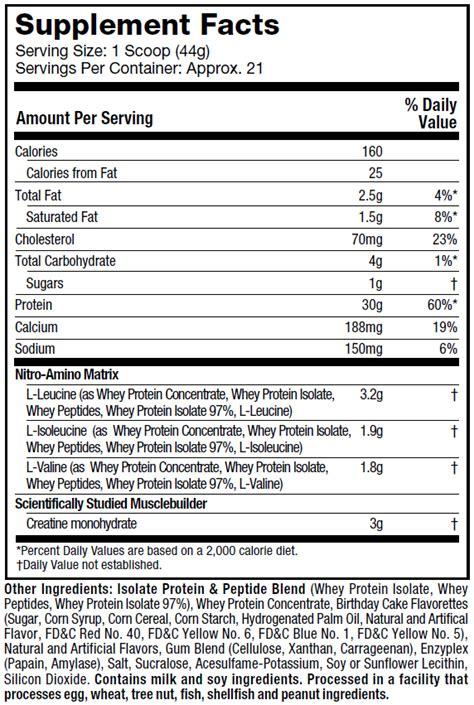 protein x supplement facts nitro tech muscletech