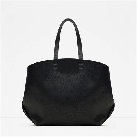 Zara Bag Black zara contrasting tote bag in black lyst
