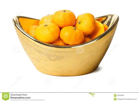 new year oranges exchange mandarin oranges in gold ingot container stock