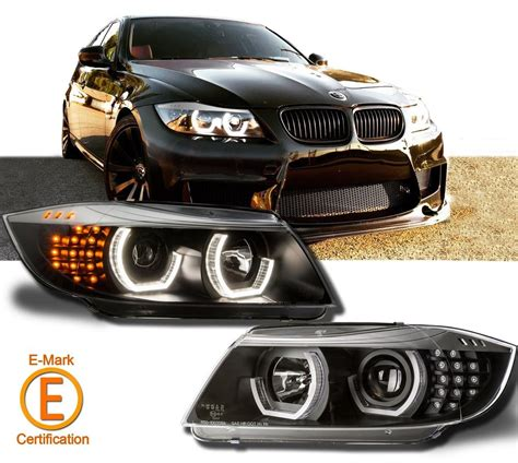 bmw headlights 3 series black headlights halo projector for bmw e90 e91 3 series