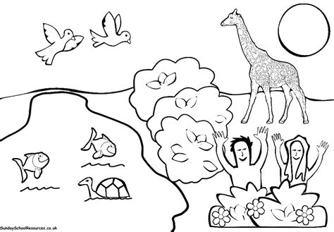 creation coloring page garden of eden christian pinterest