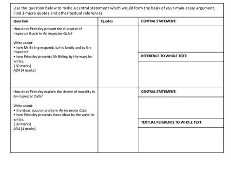 morality theme in an inspector calls exam questions an inspector calls