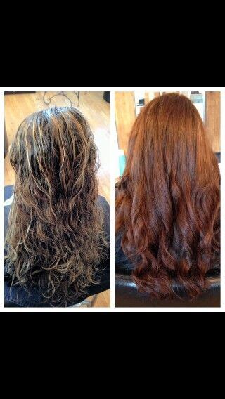 single process color before after single process color done by stylist amanda