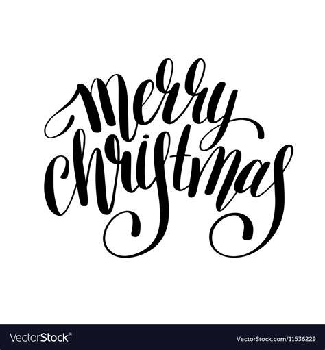 merry christmas black  white handwritten vector image