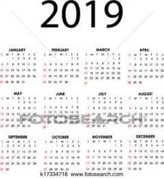 Calendario 2019 Italiano Clipart Calend 225 2019 K17334718 Busca De Clip
