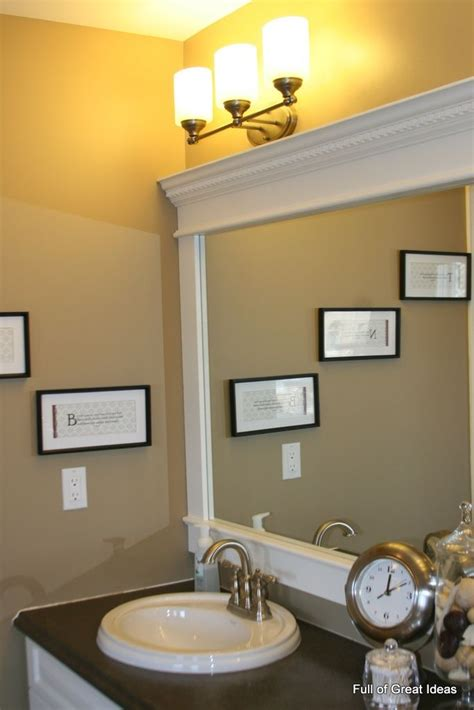 Framing Bathroom Mirror With Molding Diy Bathroom Mirror Upgrade Tutorial Use Mdf Trim And Crown Molding To Build A Frame Around