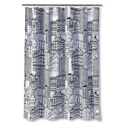 black and white curtains target room essentials city sketch black white fabric shower