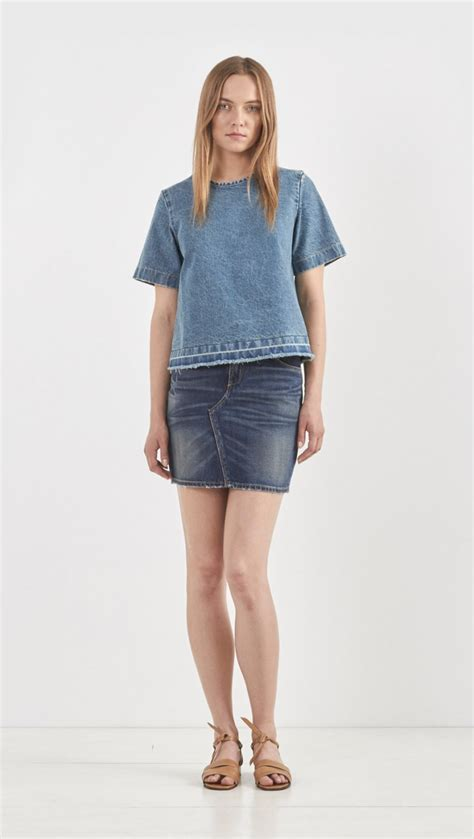 rag bone denim mini skirt in blue lyst
