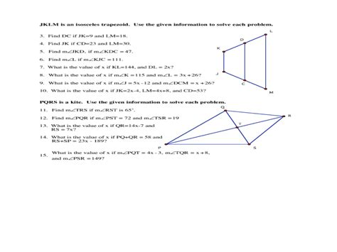 trapezoid and kites worksheet 28 geometry worksheet kites and trapezoids geometry 8 2 worksheet find the area of each