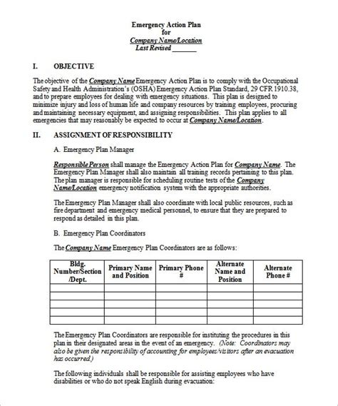 emergency plan template for businesses emergency plan template 8 free sle exle