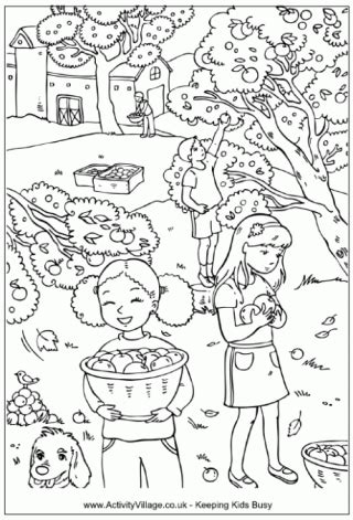thanksgiving coloring pages activity village activity village a fall apple orchard coloring sheet