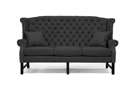 Gray Tufted Sofa by Modern Grey Gray Linen Button Tufted Scroll Back Sofa